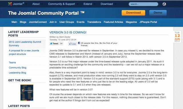 Joomla 3.0 sta per arrivare
